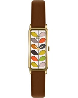 Women's Rectangular Stem Leather Strap Watch