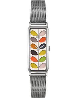 Women's Rectangular Stem Mesh Bracelet Strap Watch