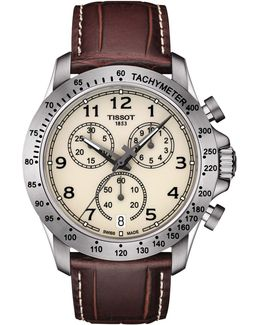 T1064171626200 Men's V8 Chronograph Date Leather Strap Watch
