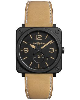 Brs-heri-cem Unisex Ceramic Leather Strap Watch