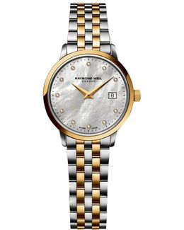 5988-stp-97081 Women's Toccata Two Tone Mother Of Pearl Bracelet Strap Watch
