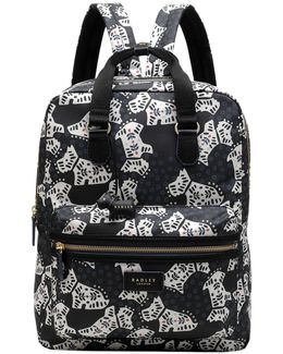 Folk Dog Fabric Large Backpack