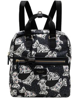 Folk Dog Fabric Medium Backpack