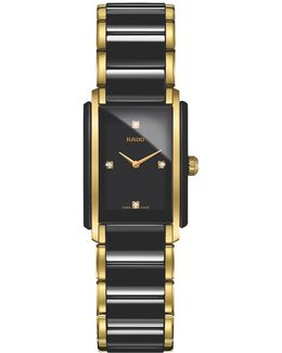 R20845712 Women's Integral Diamond Rectangular Bi-material Strap Watch