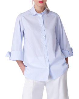 Wide Sleeve Pin Stripe Blouse
