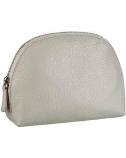 Croft Collection Half Moon Leather Makeup Bag