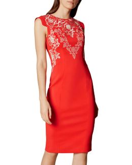 Embroidered Pencil Dress - Red