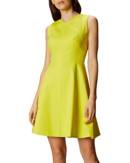 Textured A-line Dress - Lime