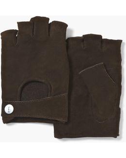 Suede Fingerless Gloves