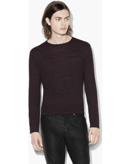 Distorted Stripe Crewneck Sweater
