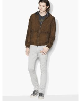 Hooded Suede Bomber