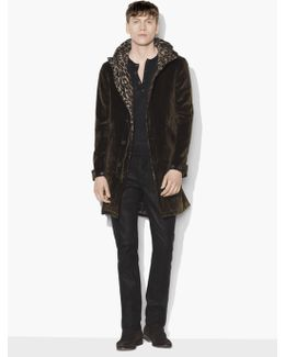 Button/zip Front Closure Parka With Wire Inserted