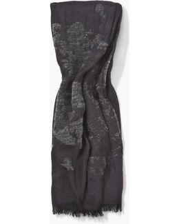 Crinkled Scarf With Chenille Detail