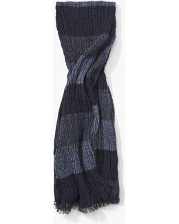 Crinkled Tri-color Rugby Stripe Scarf
