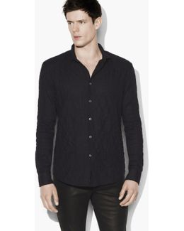 Slim Fit Sport Shirt With Wire Inserted Shaped Col