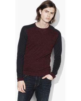 Saddle Shoulder Crewneck Sweater