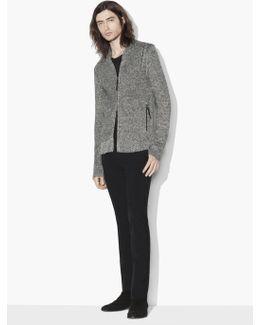Shawl Collar Zipped Cardigan