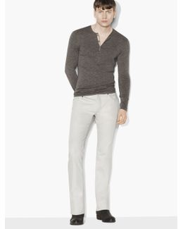 Staggered Rib Henley Sweater