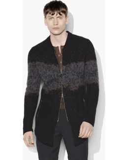 Distorted Jacquard Zipped Sweater