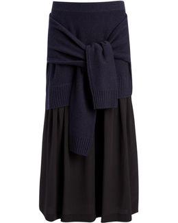 Wool Cashmere + Crepe De Chine Skirt