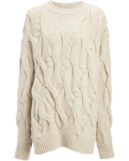 Twisted Cable High Neck Sweater