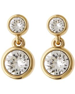 Crystal Dot Drop Earring - Gold Colour