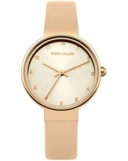 Rose Gold-tone And Leather Wat - Taupe