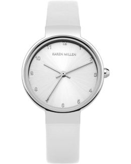 Silver - Tone And Leather Watc - White