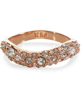 Zz023 Pave Wave Ring - Rose Gold Colour