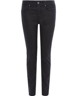 Black Coated Skinny Jeans - Black