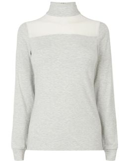 Turtle-neck Blouse - Grey/multi