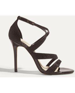 Glitter Fabric Sandal - Black