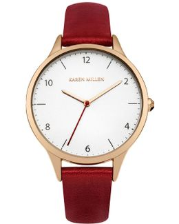 Red Leather Watch - Red