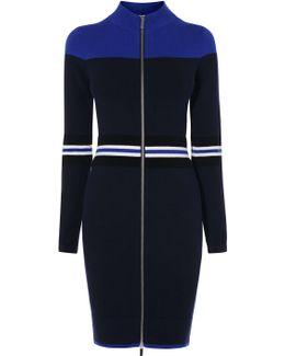 Sporty Stripe Knit Dress - Blue/multi