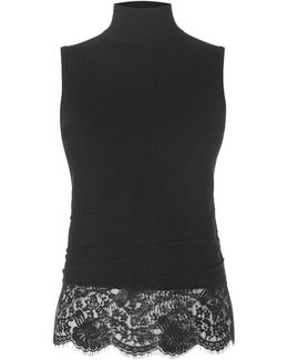 High Neck And Lace Top - Black