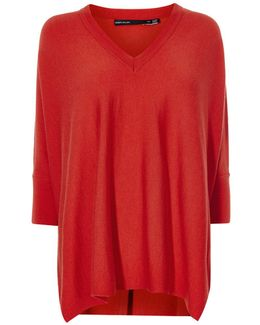 Fine Knit Poncho - Red