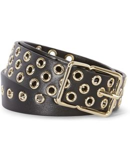 Leather Eyelet Belt - Black
