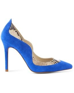 Suede & Snake Print Court - Blue