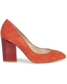Almond Toe Block Courts - Orange