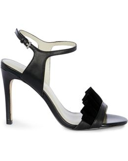 Suede Ruffle Sandals - Black