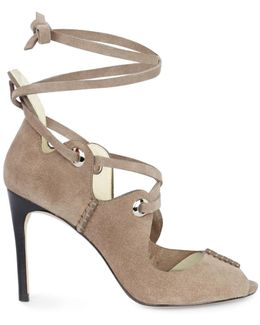 Suede Lace-up Sandals - Taupe