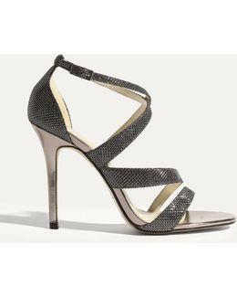 Glitter Fabric Sandal - Pewter
