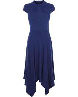 Knot-detail Midi Dress - Navy