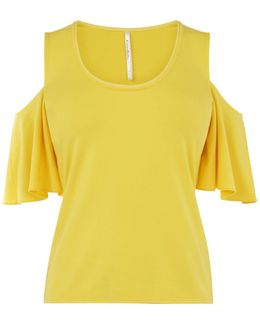 Cold Shoulder Jersey Top - Yellow