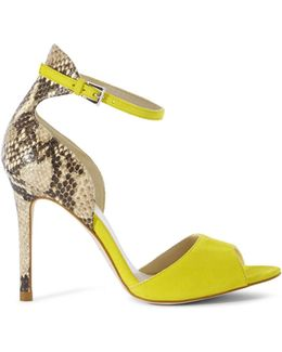 Suede And Snake Print Sandal - Yellow