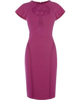 Floral Lace Panel Pencil Dress - Fuchsia