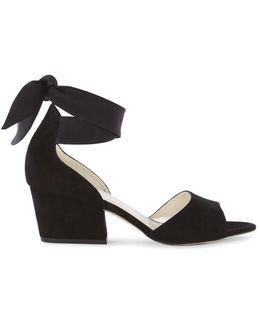 Black Suede Wrap-tie Sandals - Black