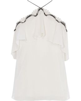 Lace Trim Off-the-shoulder Top - Neutral