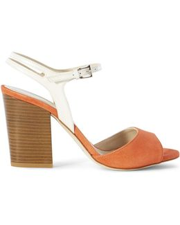 Suede Colour-block Heel Sandal - Orange