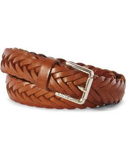Tan Leather Woven Belt - Tan